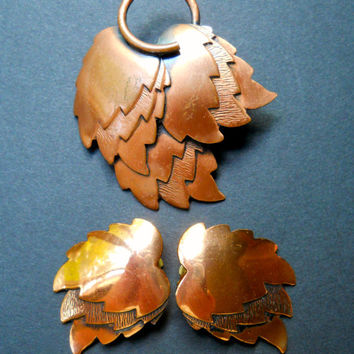 Copper Leaves RENOIR Brooch & Earrings, Autumn Copper Set, Vintage