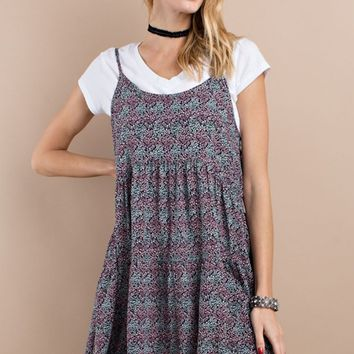 Plum Floral Cami Tunic Dress