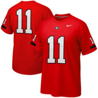 Nike Georgia Bulldogs #11 Replica Football Player T-Shirt - Red