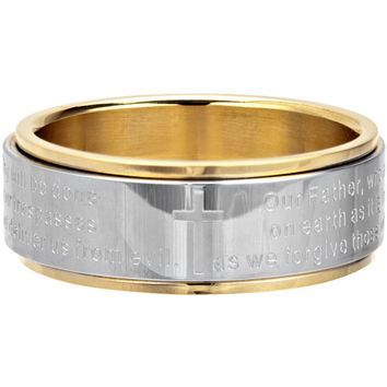 Inox Jewelry 316L Stainless Steel Lord's Prayer Spinner Gold PVD Ring