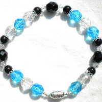 Doctor Who Inspired Turquoise and Black Swarovski Pearl and Crystal Bracelet