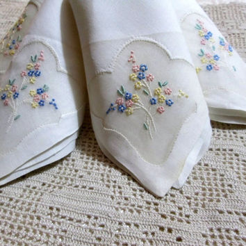 Madeira Linen Napkins Set of 4 Vintage Linens Napkins Organdy Embroidery Unused Tags
