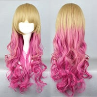 65cm Long Multi-Color Beautiful lolita wig Anime Wig,Colorful Candy Colored synthetic Hair Extension Hair piece 1pcs WIG-334A