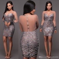 Women Sexy Long Sleeve Sequins Sparkly Sheer Mesh Tight Bodycon see throuth Pencil Short Mini Dress Sparkle Club Evening Dresses Clubwear