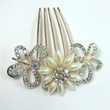 ON SALE - Gardenia Pearl Flower and Crystal Butterfly Gold Plated Hair Comb