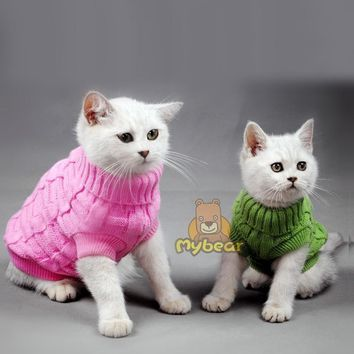 NEW Spaghetti Color Warm Autumn Winter Cat Sweater Pet Jumper Cat Clothes For Small Cat Pets