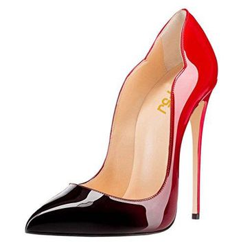 FSJ Women Come-Hither Pointed Toe Stilettos Pumps High Heels Party Shoes Size 4-15 US