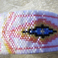 Cancer Awareness Cuff Bracelet Hand Made Seed Beaded