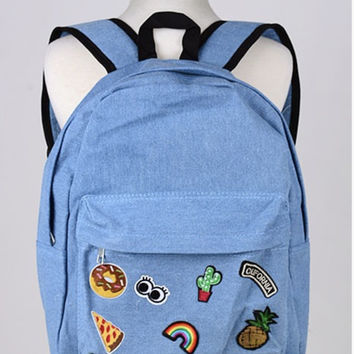 Denim Patch Backpack