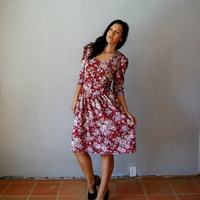 vintage OXBLOOD floral day dress / 1980s puff by vintagemarmalade