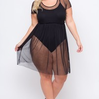 Plus Size Dotted Mesh Dress - Black