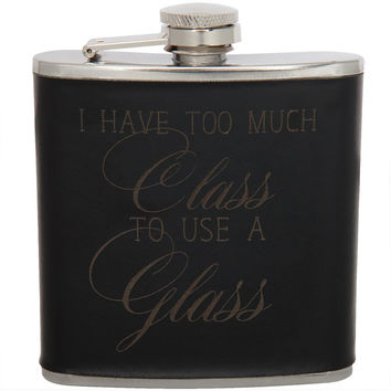 Too Much Class to Use a Glass 6oz Black Leather Wrapped Flask