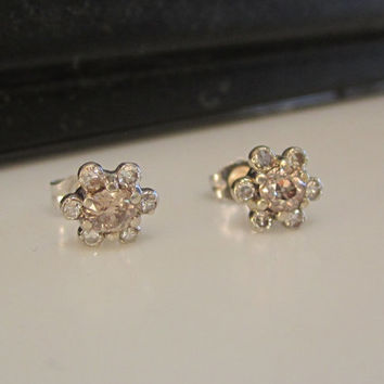 Antique Vintage Fancy Cognac Old European Cut Diamond Stud Earrings Halo Earrings Flower Earrings 14kt White Solid Gold Cluster Earrings