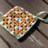 SALE - Green White Orange Granny Wristlet with Zipper Enclosure