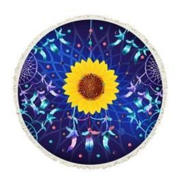 Fabulous Sunflower Printing Mandala Tassel Beach Towel