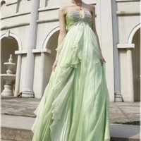 Wholesale Strapless Tiny U-opening Embellished Ball Gown Green