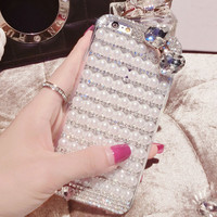 handmade diamond pearl bow iphone 6 6s plus creative case