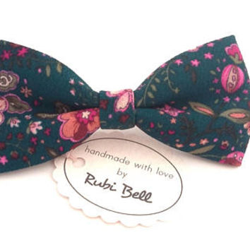 Bow Tie - blue-green floral bow tie - wedding bow tie - blue-green bow tie with flower pattern - man bow tie - men bow tie - gifts for him