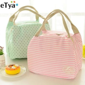 eTya Portable Insulated Lunch Bag Thermal for Women kids Snack Lunch Box Carry Tote Storage Bag Travel Cooler Picnic Food Pouch