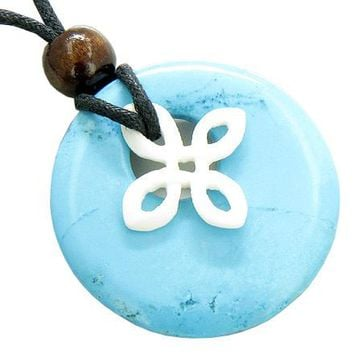 Celtic Bone Protection Cross Good Luck Amulet Turquoise Necklace