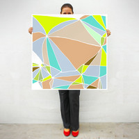 Large print - Art print - Geometric print - Neon colors - Multicolor - Abstract - Mosaic collection - Lemon