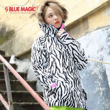 new bluemagic snowboard jackets women zebra pattern  Abstract waterproof  skiing suits mountain snow clothing set lady snowsuit
