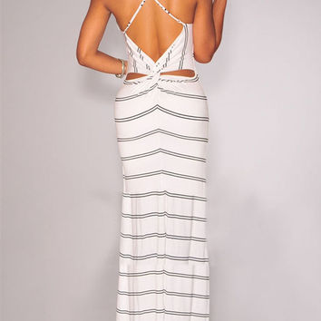 White Spaghetti Strap Cut-Out Twisted Back Striped Maxi Dress