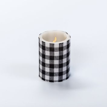 4 IN SMALL BLACK CHECK PILLAR CANDLE WITH TIMER