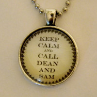 Call Dean And Sam Necklace. Supernatural Inspired. 18 Inch Ball Chain.