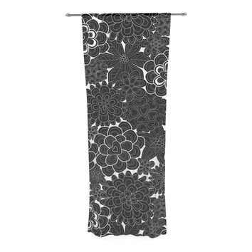 "Julia Grifol ""Flowers in White & Black"" Black White Decorative Sheer Curtain"