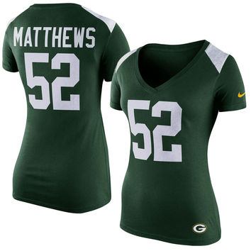 Women's Green Bay Packers Clay Matthews Nike Green Prime Player Name and Number T-Shirt