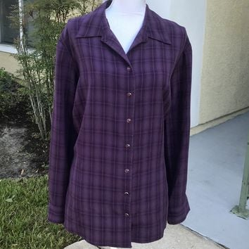 CHRISTOPHER & BANKS Women's PLUS SIZE Violet Plaid Snap On Blouse, Size 2X