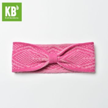2017 KBB Spring    Comfy Cherry Deep Pink Checkered Style Lambswool Women Men Children Winter Knit Headband Hair Accessories