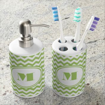 Lime Green And White Chevron Pattern Monogram Soap Dispensers