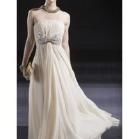 Off-White Strapless Bow-tie Gown