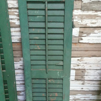 Antique Dark Green Window Shutter