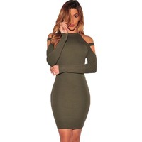 Off Shoulder Club Party Dresses Long Sleeve Bodycon Elastic Kim Kardashian