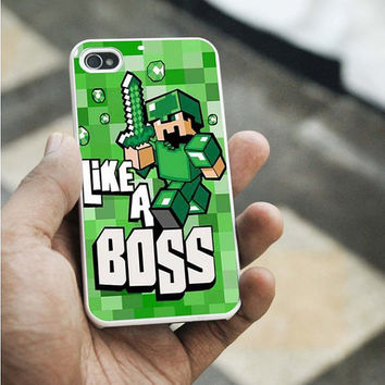 Cute Minecraft like a bossiPhone 5C case,iPhone 5S case,iphone 5 case,iphone 4 case,iphone 4S  case,Samsung s3 case,samsung s4 case