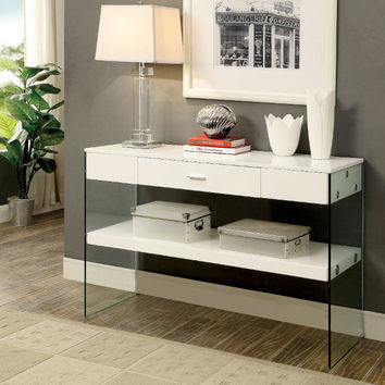Furniture of america CM4451WH-S Raya white finish wood and glass sofa console entry table