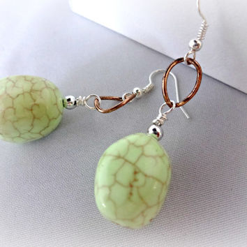 Daring Lime Green and Copper Earrings, Easter Egg, Unique Jewelry