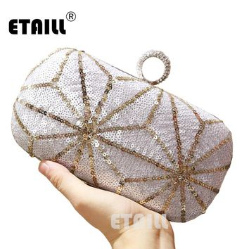 ETAILL Luxury Glitter Women Wedding Bride Shoulder Bags Gold Evening Bags Party Day Clutches Purses Wallet Sequins Chain Handbag