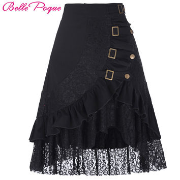 Womens Black Skirts 50s style Vintage Steampunk Gothic Clothing Gypsy Hippie High Stretchy saia mujer Women Asymmetrical Skirt