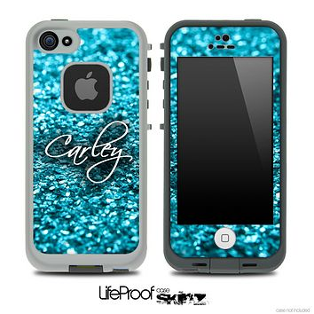 Custom Name Script On Blue Glimmer Skin for the iPhone 5 or 4/4s LifeProof Case