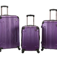 F190-PURPLE 3 Pc Sonic Abs Upright Luggage Set