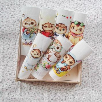 russian owl diy hand dyed cloth cotton cloth patchwork Scrapbooking bedding quiltting sewing for bag/purse cut owl design