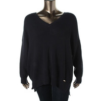 MICHAEL Michael Kors Womens Plus Knit V Neck Pullover Sweater