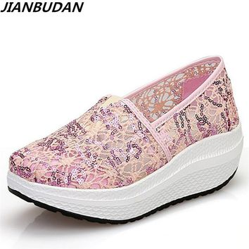 2017 summer new sequins net yarn shoes breathable swing shoes women's platform wedge sandals casual woman pumps