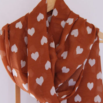 Heart Print Scarf Rust and White Ivory Scarf Shawl Women's Fashion Accessories Fall Winter Fashion Cowl Scarf Gift for Her