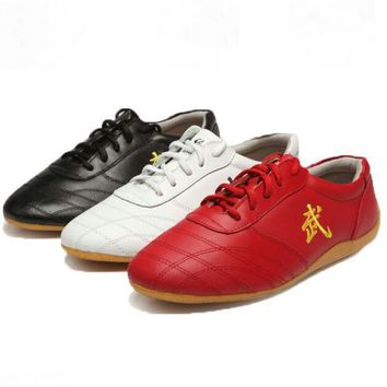 Chinese Traditional Qi Gong Trainer Wing Chun Tai Chi Sneakers Leather Cow Muscle Kung Fu Shoes Outsole Light Martial Arts Shoes