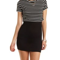 Layered & Striped T-Shirt Dress by Charlotte Russe - Black/White
